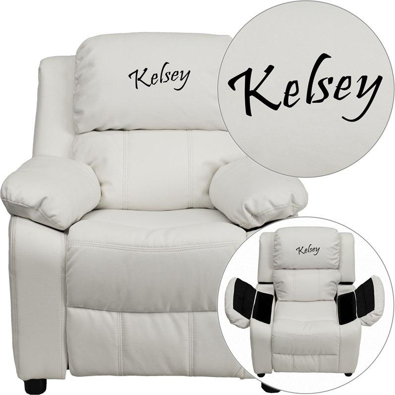 Flash Furniture BT-7985-KID-WHITE-EMB-GG Personalized Deluxe Padded White Vinyl Kids Recliner with Storage Arms