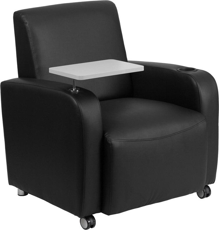 Flash Furniture BT-8217-BK-CS-GG Black Leather Guest Chair with Tablet Arm, Front Wheel Casters and Cup Holder