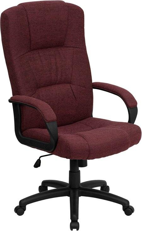 Flash Furniture BT-9022-BY-GG High Back Burgundy Fabric Executive Swivel Chair with Arms