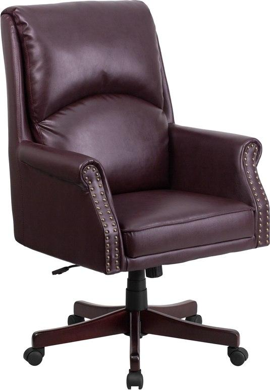 Flash Furniture BT-9025H-2-BY-GG High Back Pillow Back Burgundy Leather Executive Swivel Chair with Arms