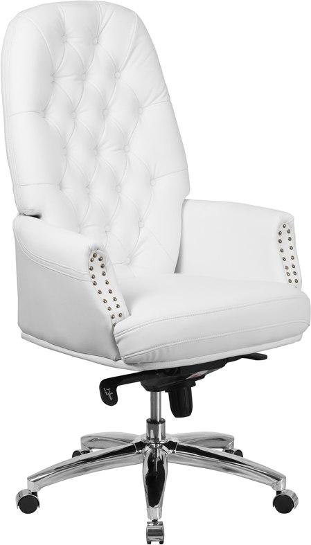 Flash Furniture BT-90269H-WH-GG High Back Traditional Tufted White Leather Multifunction Executive Swivel Chair with Arms