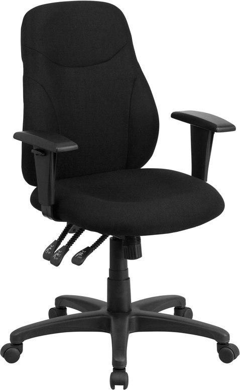 Flash Furniture BT-90297M-A-GG Mid-Back Black Fabric Multifunction Ergonomic Swivel Task Chair with Adjustable Arms