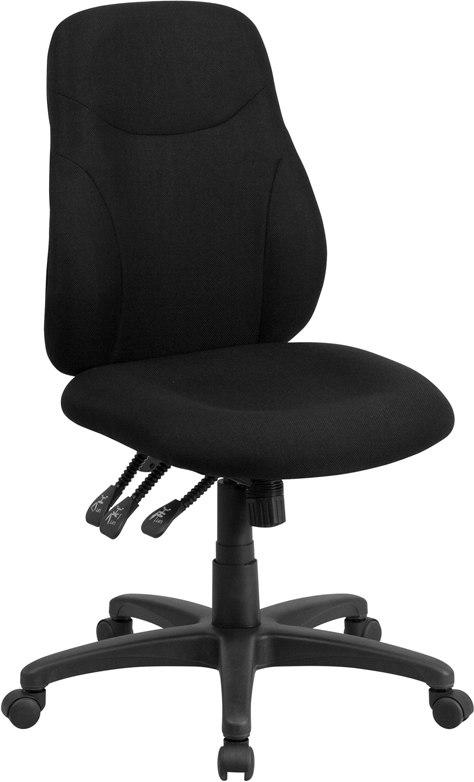 Flash Furniture BT-90297M-GG Mid-Back Black Fabric Multifunction Ergonomic Swivel Task Chair