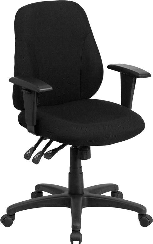 Flash Furniture BT-90297S-A-GG Mid-Back Black Fabric Multifunction Ergonomic Swivel Task Chair with Adjustable Arms