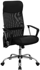 Flash Furniture BT-905-GG High Back Black Leather and Mesh Swivel Task Chair with Arms