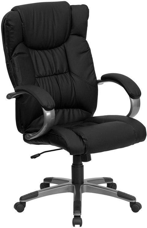 Flash Furniture BT-9088-BK-GG High Back Black Leather Executive Swivel Chair with Arms