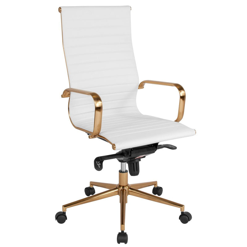 Flash Furniture BT-9826H-WH-GD-GG High Back White Ribbed Leather Executive Swivel Chair with Gold Frame, Knee-Tilt Control and Arms