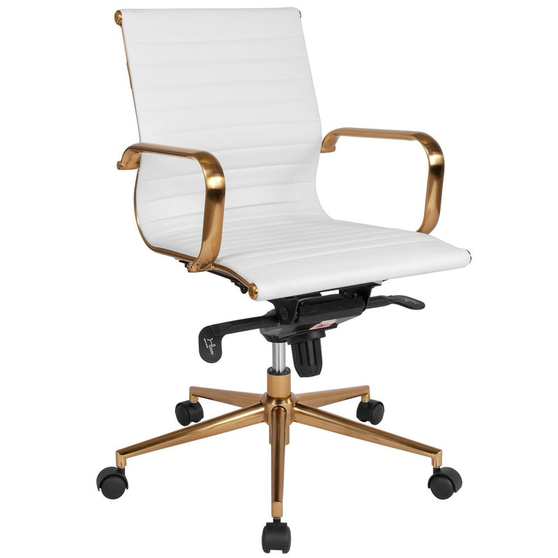 Flash Furniture BT-9826M-WH-GD-GG Mid-Back White Ribbed Leather Executive Swivel Chair with Gold Frame, Knee-Tilt Control and Arms