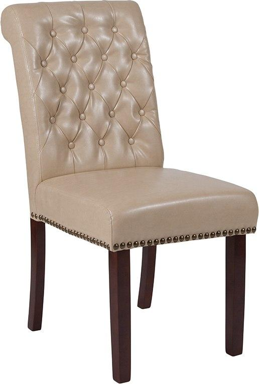 Flash Furniture BT-P-BG-LEA-GG HERCULES Series Beige Leather Parsons Chair with Rolled Back, Accent Nail Trim and Walnut Finish