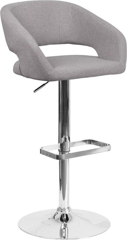 Flash Furniture CH-122070-GYFAB-GG Contemporary Gray Fabric Adjustable Height Barstool with Chrome Base