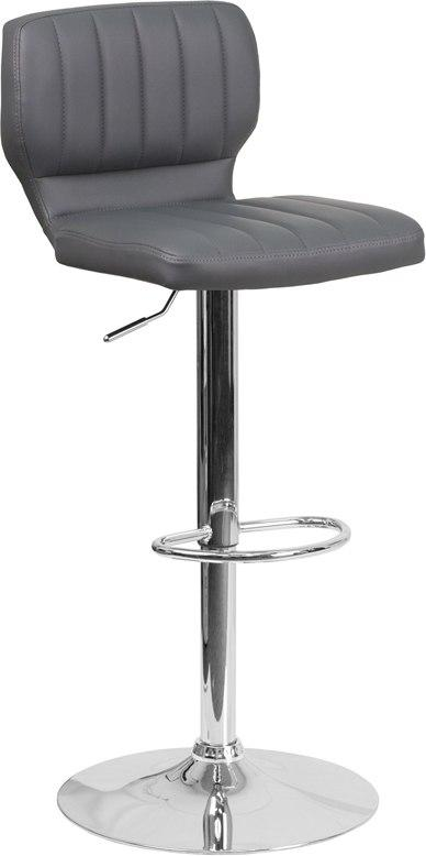 Flash Furniture CH-132330-GY-GG Contemporary Gray Vinyl Adjustable Height Barstool with Chrome Base