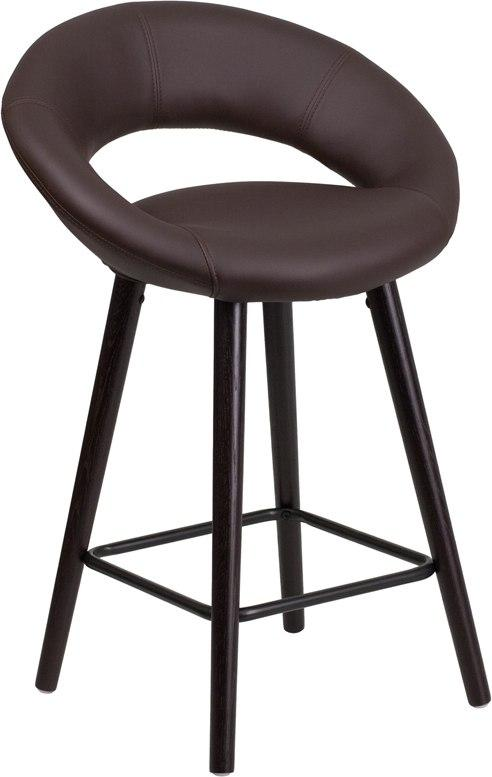 Flash Furniture CH-152551-BRN-VY-GG Kelsey Series 24'' High Contemporary Cappuccino Wood Counter Height Stool in Brown Vinyl