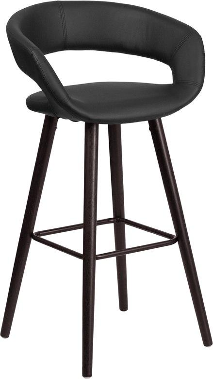 Flash Furniture CH-152560-BK-VY-GG Brynn Series 29'' High Contemporary Cappuccino Wood Barstool in Black Vinyl