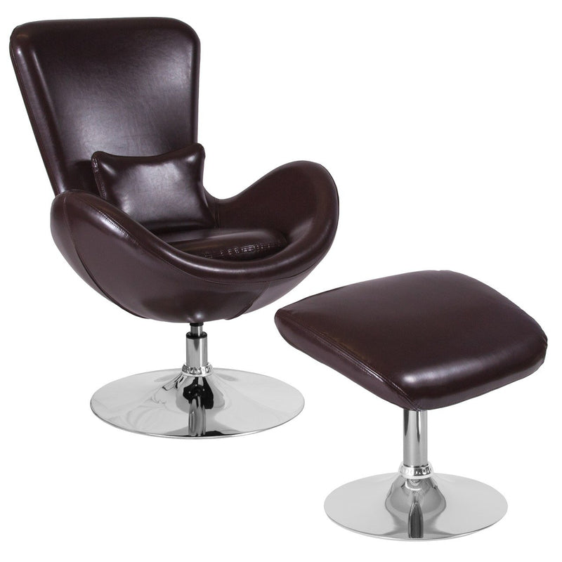 Flash Furniture CH-162430-CO-BN-LEA-GG Egg Series Brown Leather Side Reception Chair with Ottoman
