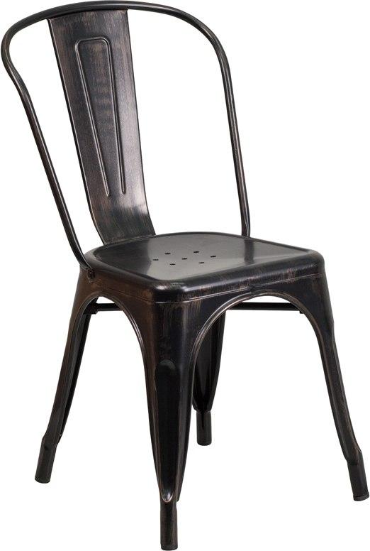 Flash Furniture CH-31230-BQ-GG Black-Antique Gold Metal Indoor-Outdoor Stackable Chair