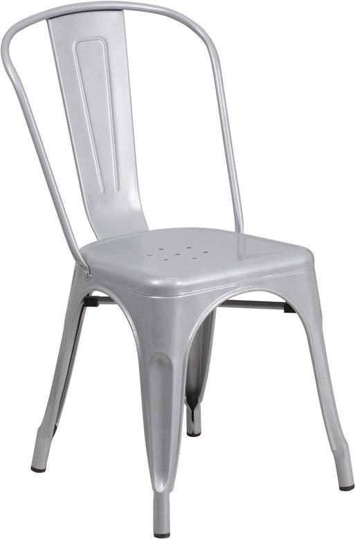 Flash Furniture CH-31230-SIL-GG Silver Metal Indoor-Outdoor Stackable Chair