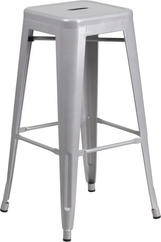 Flash Furniture CH-31320-30-SIL-GG 30'' High Backless Silver Metal Indoor-Outdoor Barstool with Square Seat
