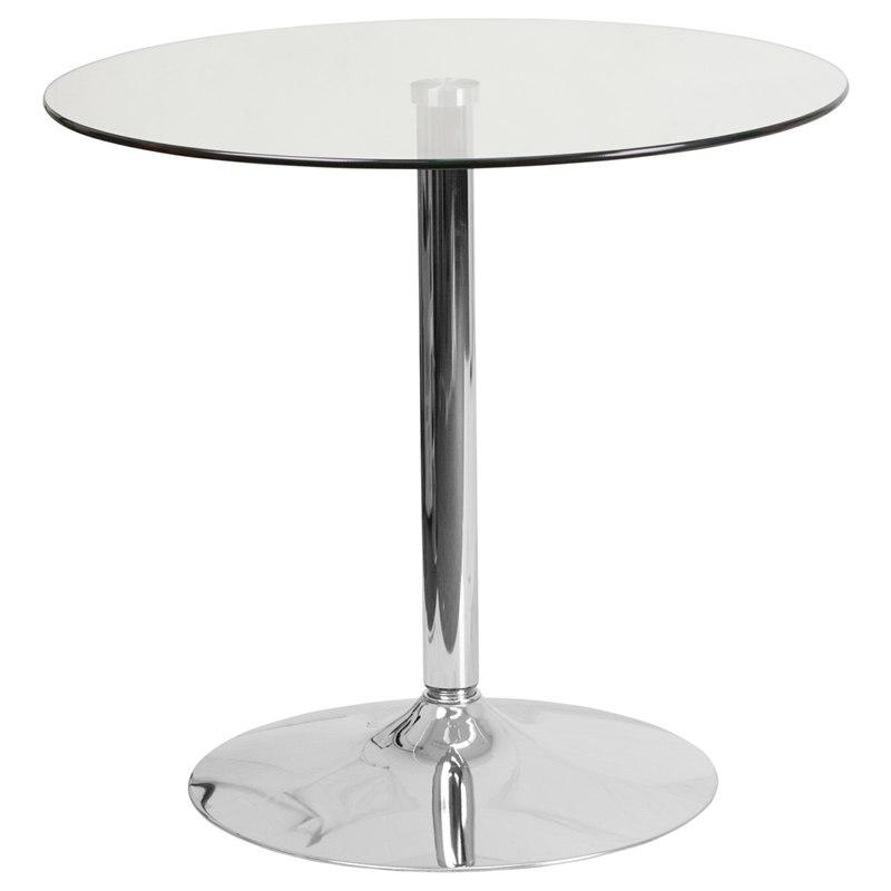 Flash Furniture CH-7-GG 31.5'' Round Glass Table with 29''H Chrome Base