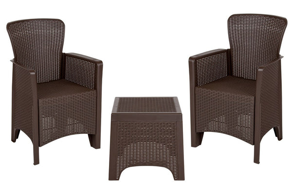 Flash Furniture DAD-SF3-2P-SET-CHOC-GG Chocolate Faux Rattan Plastic Chair Set with Matching Side Table