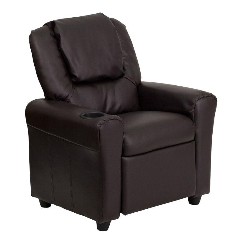 Flash Furniture DG-ULT-KID-BRN-GG Contemporary Brown Leather Kids Recliner with Cup Holder and Headrest