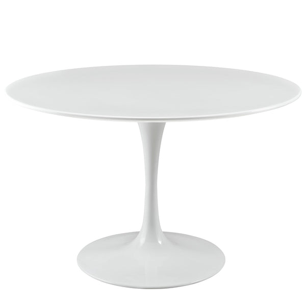 "Modway Lippa 47"" Round Wood Top Dining Table in White"