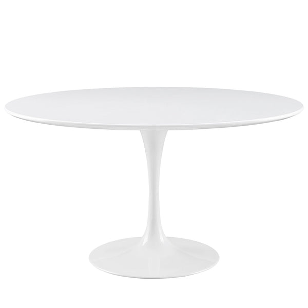"Modway Lippa 54"" Round Wood Top Dining Table in White"