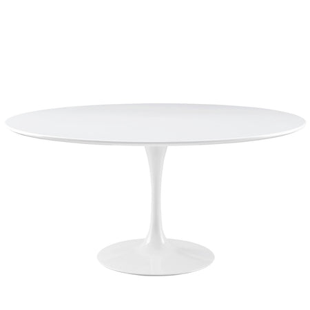 "Modway Lippa 60"" Round Wood Top Dining Table in White"