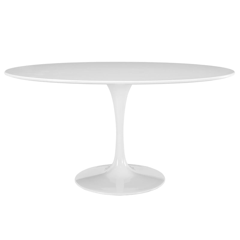 "Modway Lippa 60"" Oval Wood Top Dining Table in White"