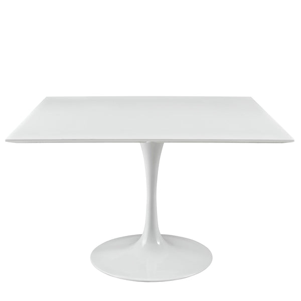"Modway Lippa 47"" Square Wood Top Dining Table in White"