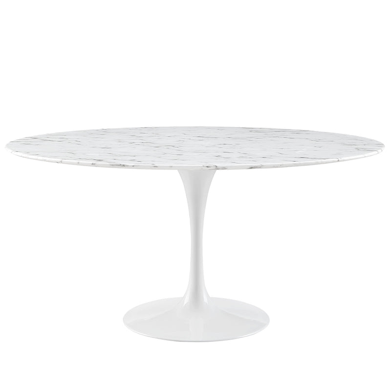 "Modway Lippa 60"" Round Artificial Marble Dining Table in White"