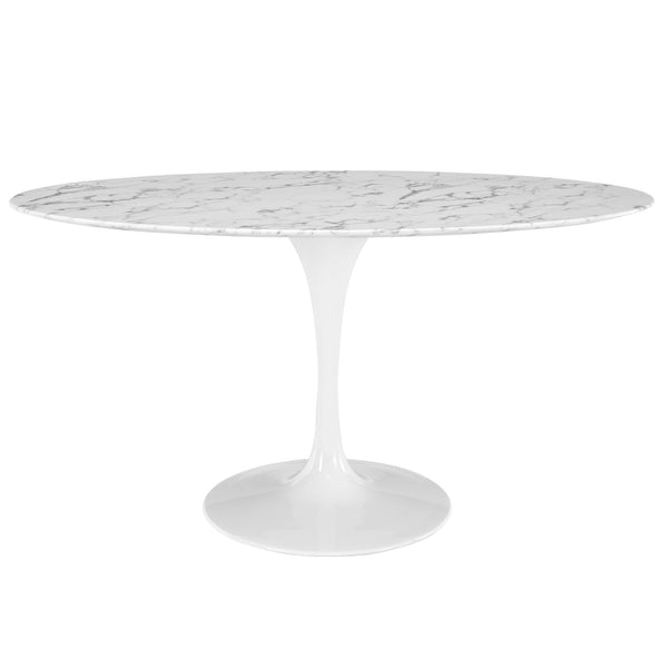 "Modway Lippa 60"" Oval Artificial Marble Dining Table in White"