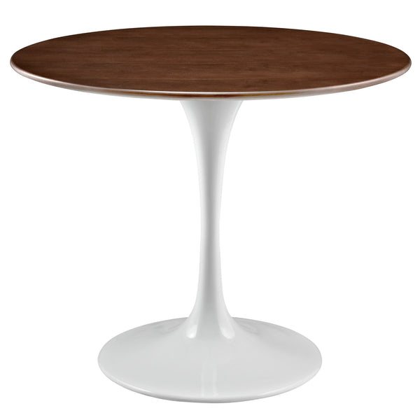 "Modway Lippa 36"" Round Walnut Dining Table in Walnut"