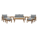 Modway Marina 8 Piece Outdoor Patio Teak Set in Natural Gray - EEI-1471-NAT-GRY-SET