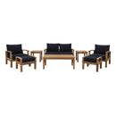 Modway Marina 8 Piece Outdoor Patio Teak Set in Natural Navy - EEI-1471-NAT-NAV-SET