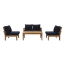 Modway Marina 5 Piece Outdoor Patio Teak Set in Natural Navy - EEI-1477-NAT-NAV-SET