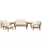 Modway Marina 7 Piece Outdoor Patio Teak Set in Natural White - EEI-1486-NAT-WHI-SET