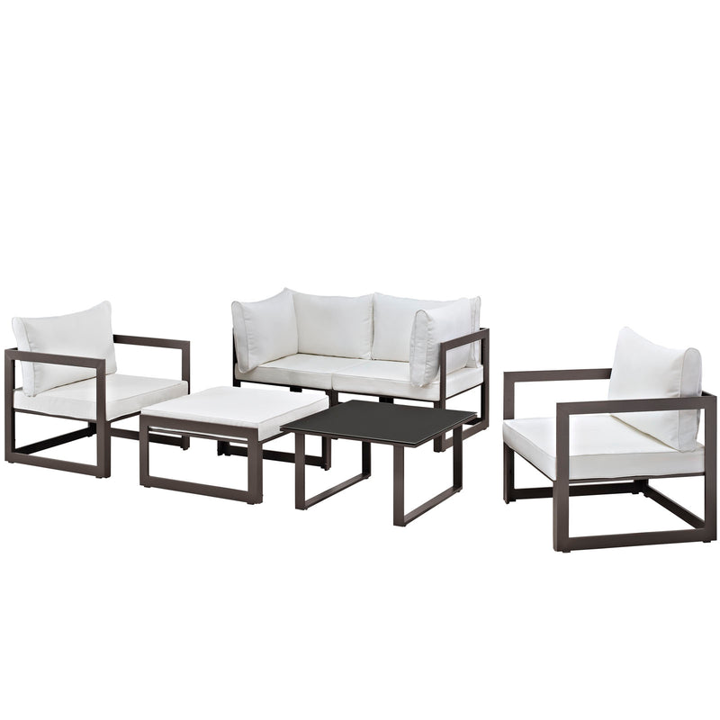 Modway Fortuna 6 Piece Outdoor Patio Sectional Sofa Set in Brown White - EEI-1723-BRN-WHI-SET