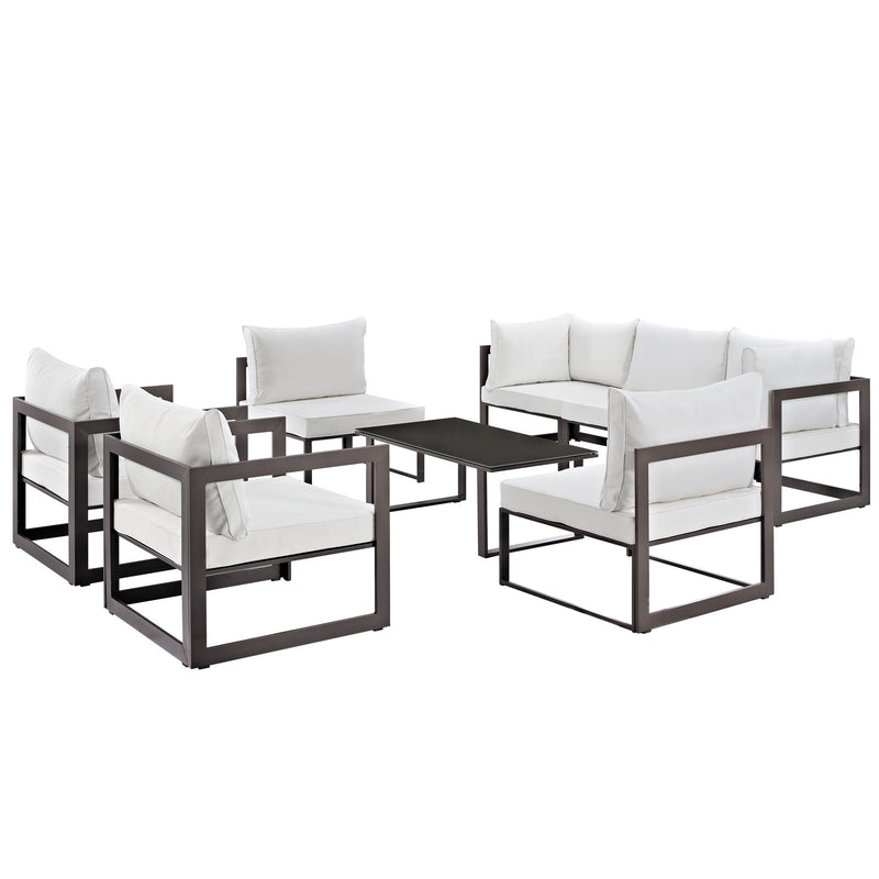 Modway Fortuna 8 Piece Outdoor Patio Sectional Sofa Set in Brown White - EEI-1725-BRN-WHI-SET