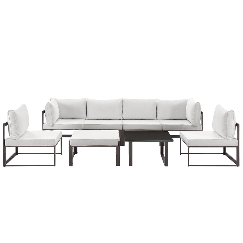 Modway Fortuna 8 Piece Outdoor Patio Sectional Sofa Set in Brown White - EEI-1728-BRN-WHI-SET