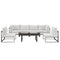 Modway Fortuna 7 Piece Outdoor Patio Sectional Sofa Set in Brown White - EEI-1729-BRN-WHI-SET