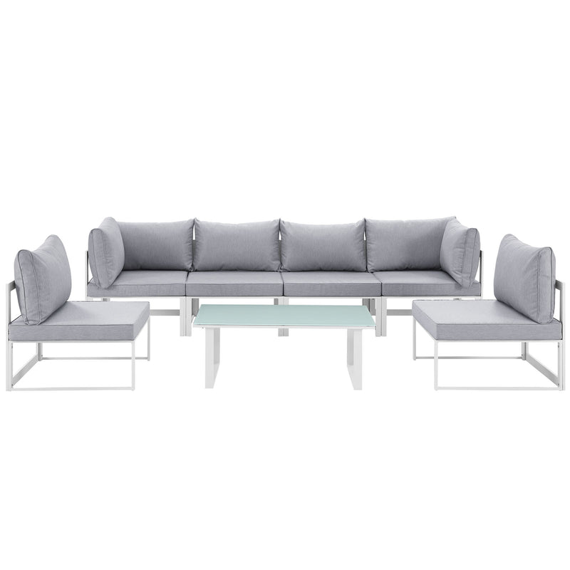 Modway Fortuna 7 Piece Outdoor Patio Sectional Sofa Set in White Gray - EEI-1729-WHI-GRY-SET