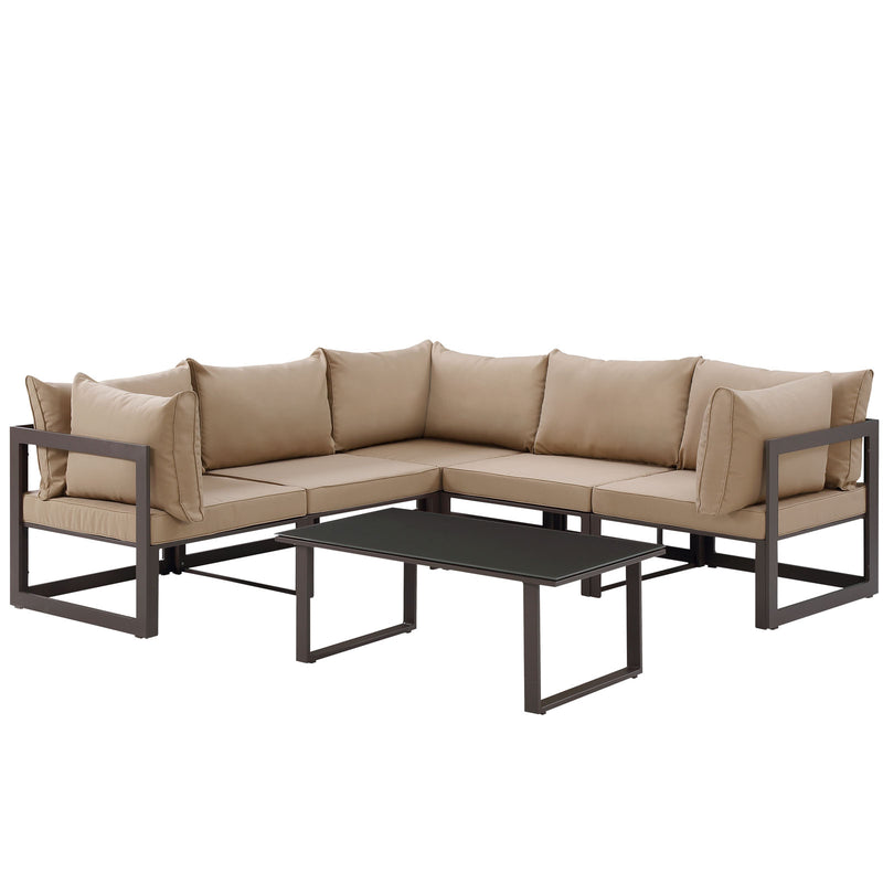 Modway Fortuna 6 Piece Outdoor Patio Sectional Sofa Set in Brown Mocha - EEI-1732-BRN-MOC-SET