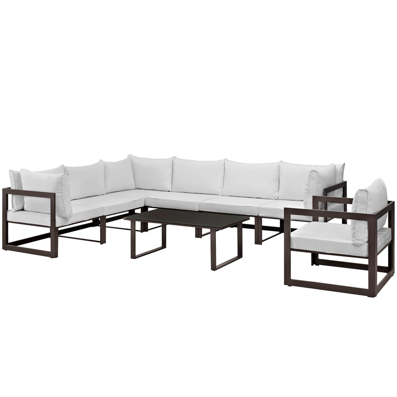 Modway Fortuna 8 Piece Outdoor Patio Sectional Sofa Set in Brown White - EEI-1736-BRN-WHI-SET