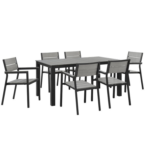 Modway Maine 7 Piece Outdoor Patio Dining Set in Brown Gray