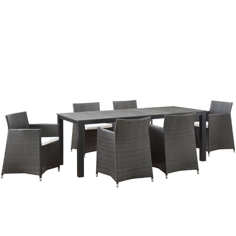 Modway Junction 7 Piece Outdoor Patio Dining Set in Brown White - EEI-1750-BRN-WHI-SET