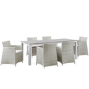 Modway Junction 7 Piece Outdoor Patio Dining Set in Gray White - EEI-1750-GRY-WHI-SET