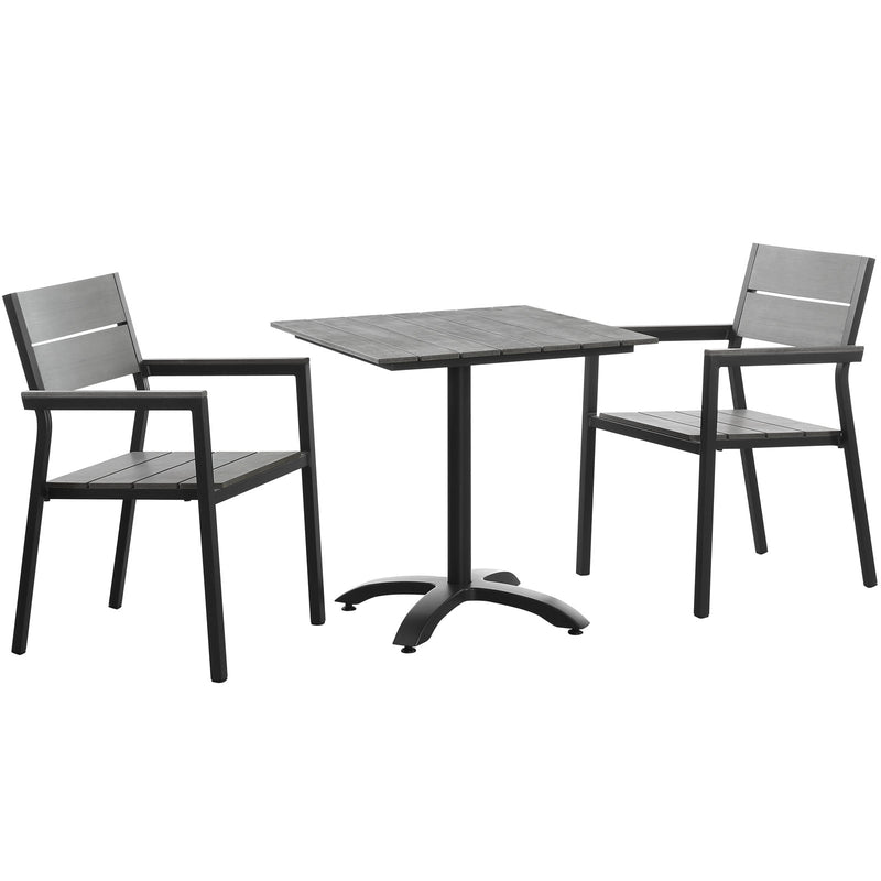 Modway Maine 3 Piece Outdoor Patio Dining Set in Brown Gray - EEI-1759-BRN-GRY-SET