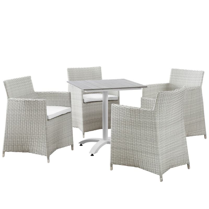 Modway Junction 5 Piece Outdoor Patio Dining Set in Gray White - EEI-1760-GRY-WHI-SET