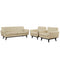 Modway Engage 3 Piece Leather Living Room Set in Beige - EEI-1762-BEI-SET