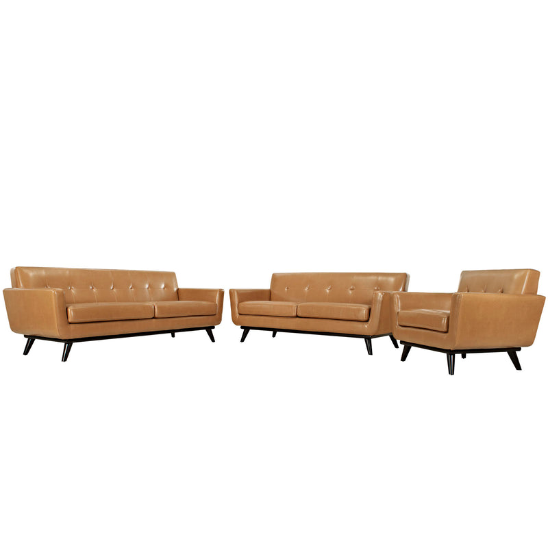 Modway Engage 3 Piece Leather Living Room Set in Tan - EEI-1764-TAN-SET